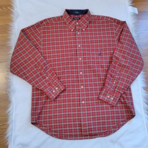 Nautica Plaid Shirt Men's XL Red and Green